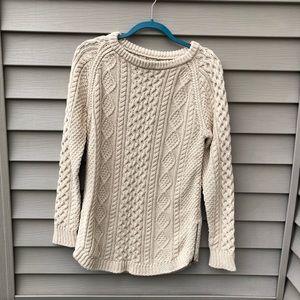 LL Bean Cream Knit Fisherman's Sweater